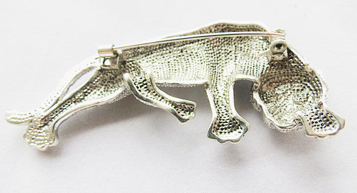 Silver Plated Tiger Brooch Pin