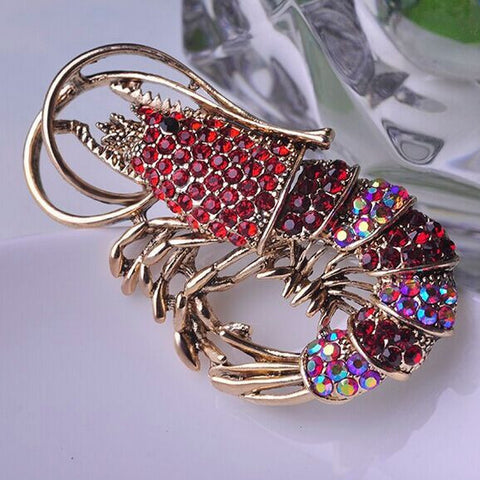 Red Crystal Lobster Brooch Pin