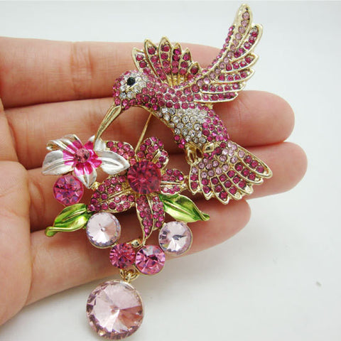 Hummingbird Flower Brooch (in Pink)