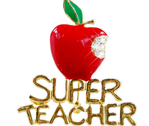 Super Teacher Brooch Pin (Apple Design)