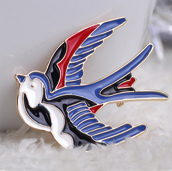 Blue Birds Parrot Brooch Pin