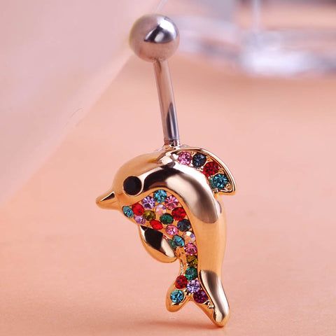 Rhinestone Dolphin Piercing (Belly Button Ring)