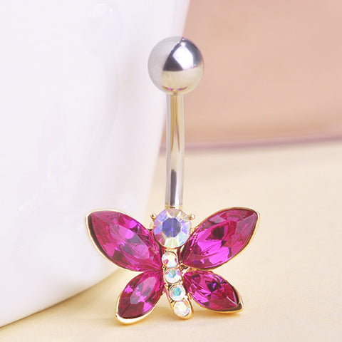 Dragonfly Crystal Piercing (Belly Button Ring)