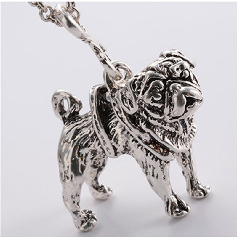Cute Puppy Pug Dog Antique Silver/Bronze Necklace