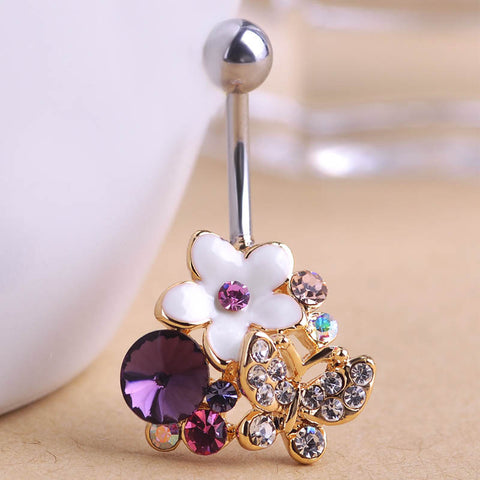 Flowers Butterfly Belly Button Ring Piercing
