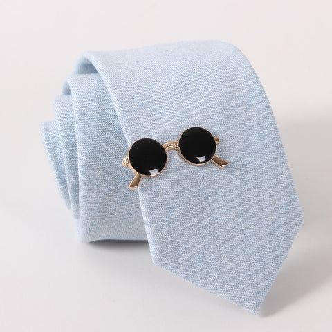 Golden & Black Glasses Tie Clip (Tie Bar)