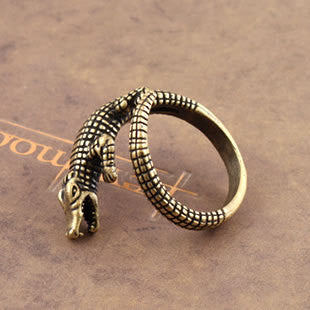 Brass Crocodile Ring