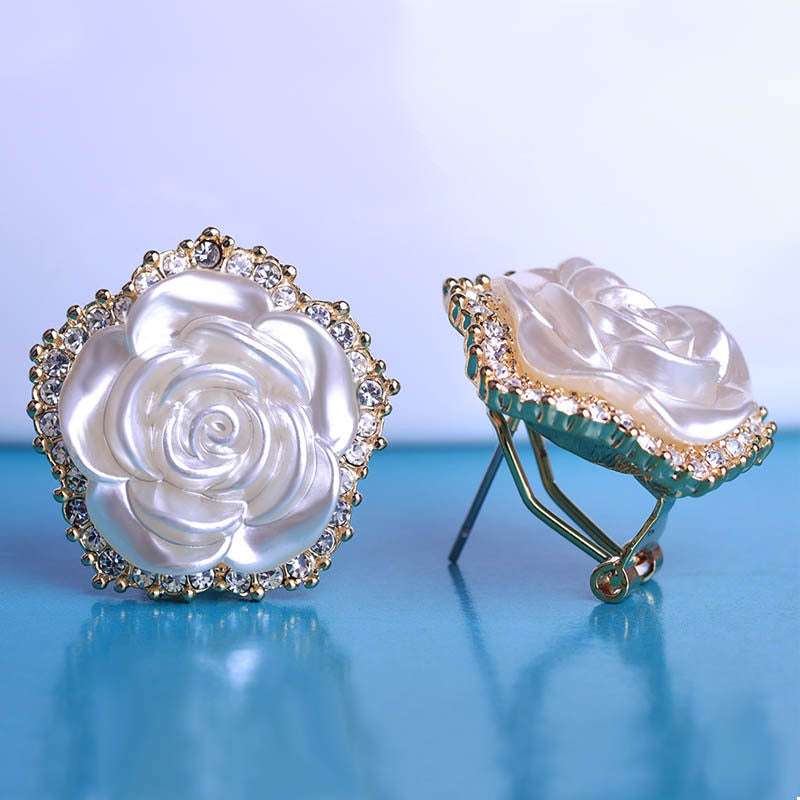 White Rose Flower Earrings