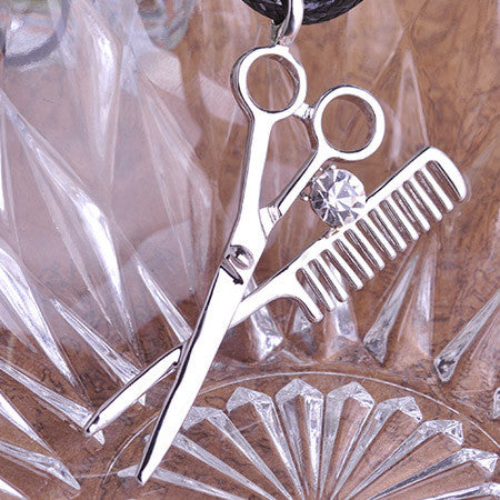Mini Scissors Comb Barber Pendant