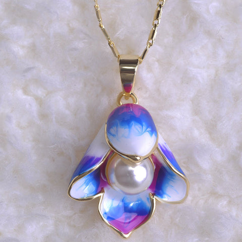 Blue Purple Flower Pendant