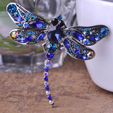 Crystal Dragonfly Brooch Pin (Silver Plated)