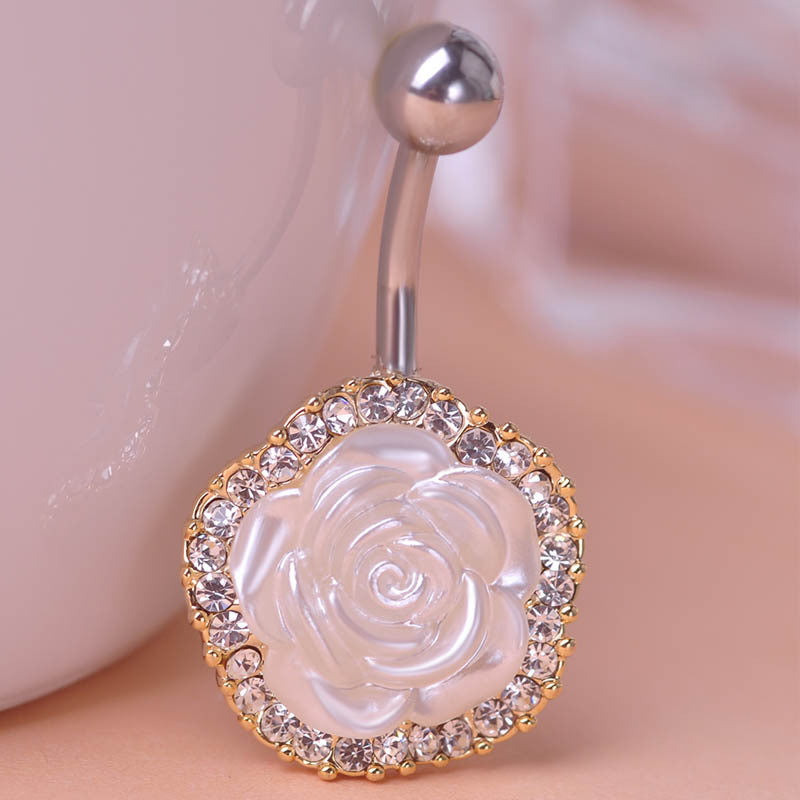 White Rose Piercing (Belly Button Ring)