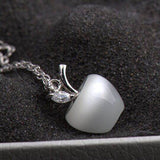 "Moonstone ""Apple"" Necklace in 925 Sterling Silver"