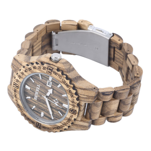 Zebra Wood Watch (Wooden Wristwatch for Men)