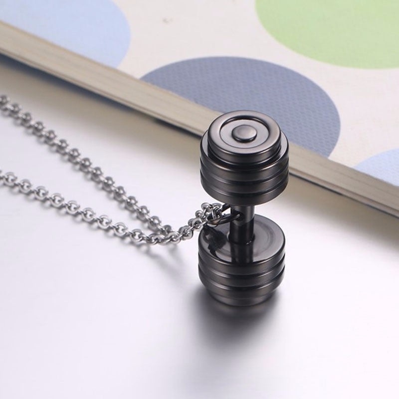 Punk Stainless Steal Dumbbell Necklace