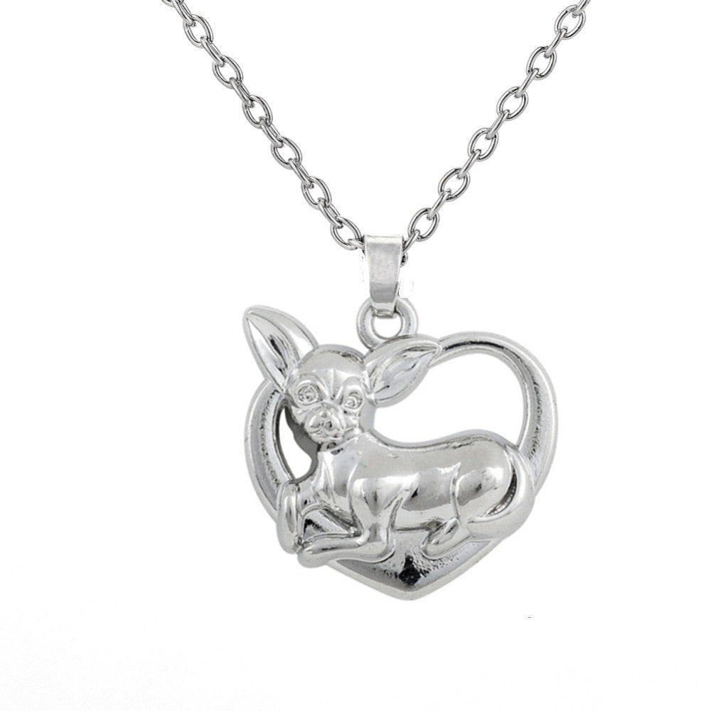 Chihuahua on Heart Pendant Necklace
