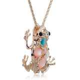Frog Toad Crystal Pendant Necklace