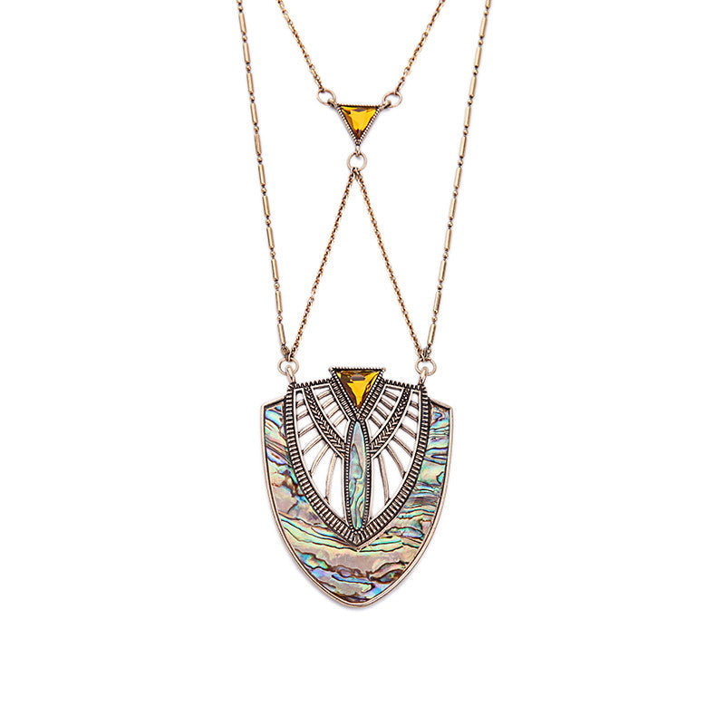 Geometric Shell Pendant Necklace