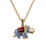 Blue Elephant Pendant Long Necklace