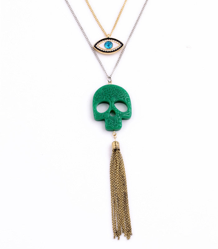 Green Skull Tassel Crystal Eye Necklace
