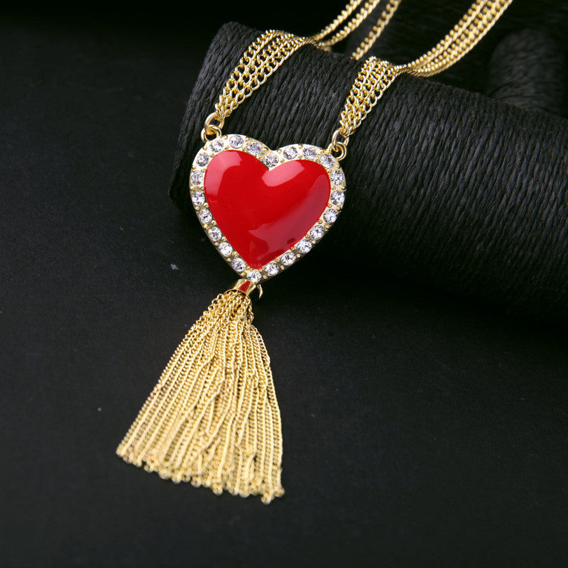 Tassel Red Heart Pendant Necklace