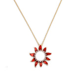 Sunflowers Pendant Necklace in Red