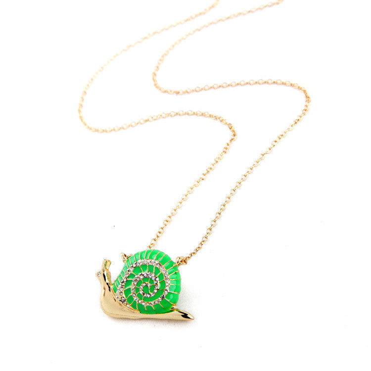 Neon Green Snail Necklace