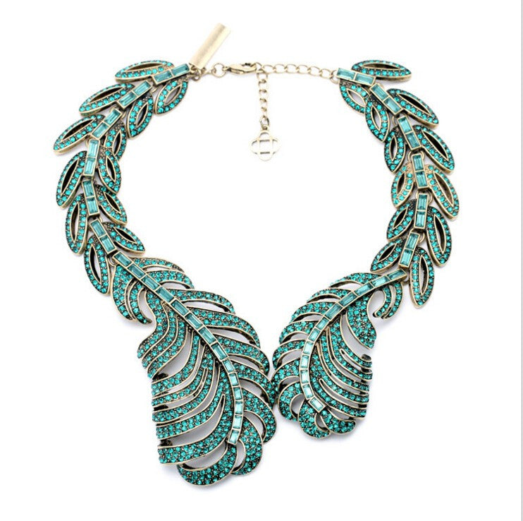 Crystal Leaf Collar Statement Necklace