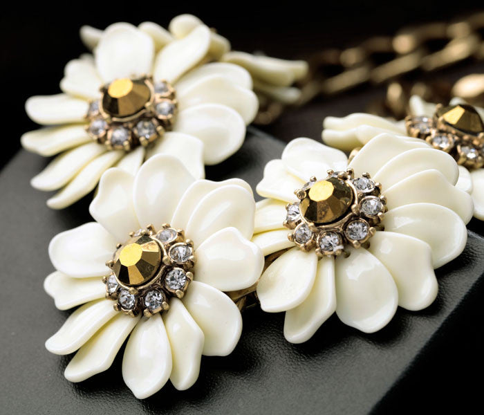 White flower statement necklace bold and honest white flower statement necklace mightylinksfo