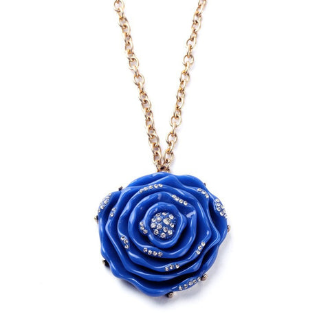 Blue Acrylic Rose Necklace