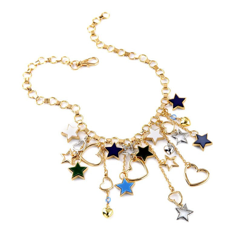 Retro Stars and Hearts Necklace