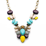 Plant Collar Necklace in Blue/Yellow