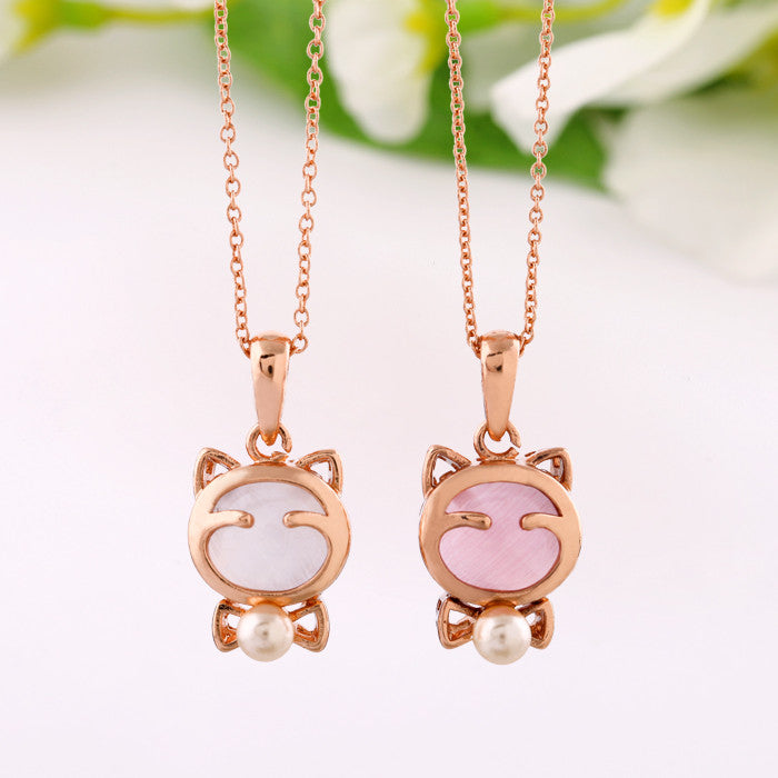 Cute Cat Necklace with White Crystal