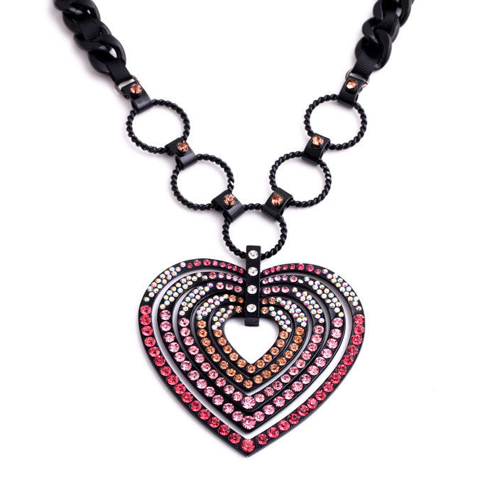 Big Heart Statement Necklace in Pink
