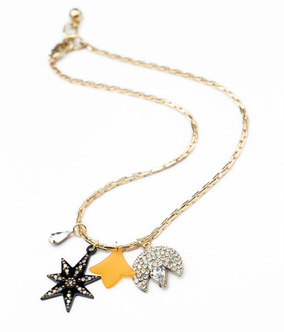 Gold Plated Glass Stone Star Necklace (yellow)