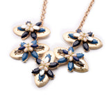 Elegant Antique Plant Statement Necklace Black/Blue/Red
