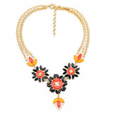 Flowers Statement Necklace in Orange/Black