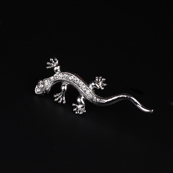 Crystal Lizard Brooch Pin