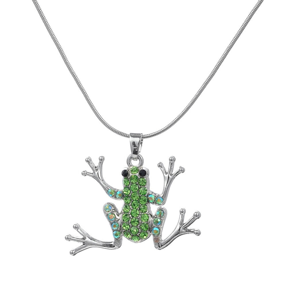 Green Crystal Frog Necklace (Silver Plated)