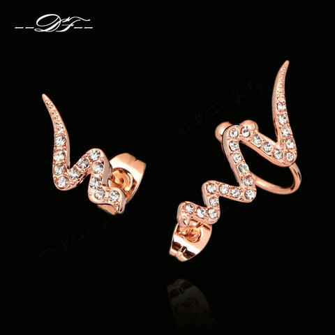 Snake Stud Earrings (18K Rose Gold Plated)