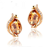 Crystal Snake Oval Rhinestone Earrings (18k Gold Plated)