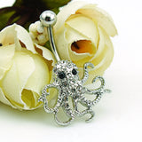 Octopus Belly Button Ring Piercing (Stainless Steel - White Rhinestone)