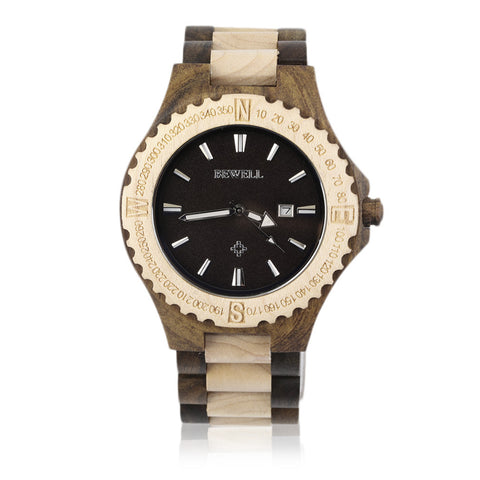 Black and Maple Wood Watch (Wooden Wristwatch for Men)