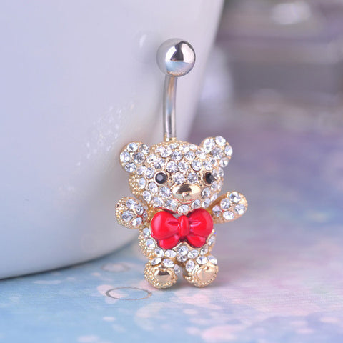 Red Bow Tie Bear Belly Button Ring Piercing