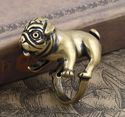 Bulldog Pug Ring (Silver Bronze)