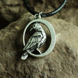 Handmade Raven Black Bird In Moon Crow Warrior Odin's Necklace