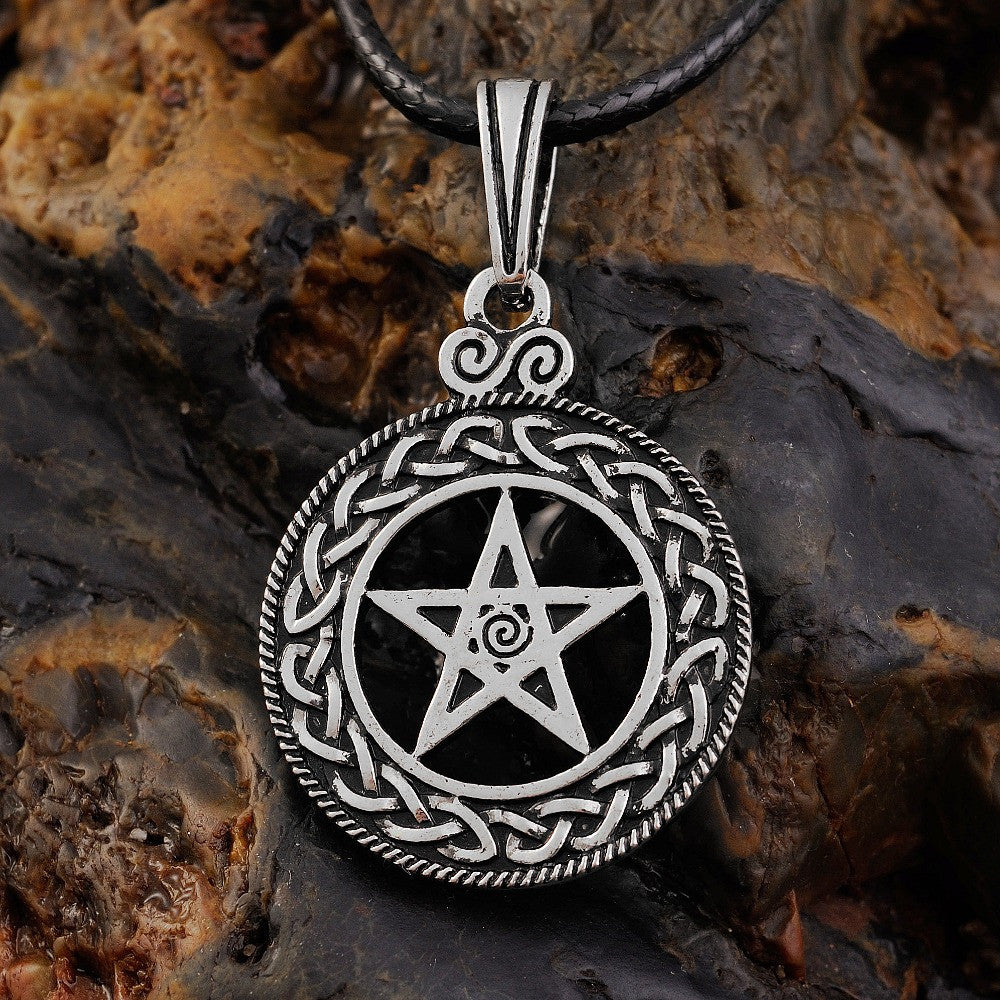 Norse Vikings Celttic Knot Pentagram Pentacle Star Wicca Necklace