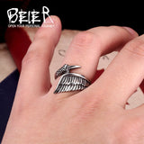 Bird Wing Ring in Stainless Steel