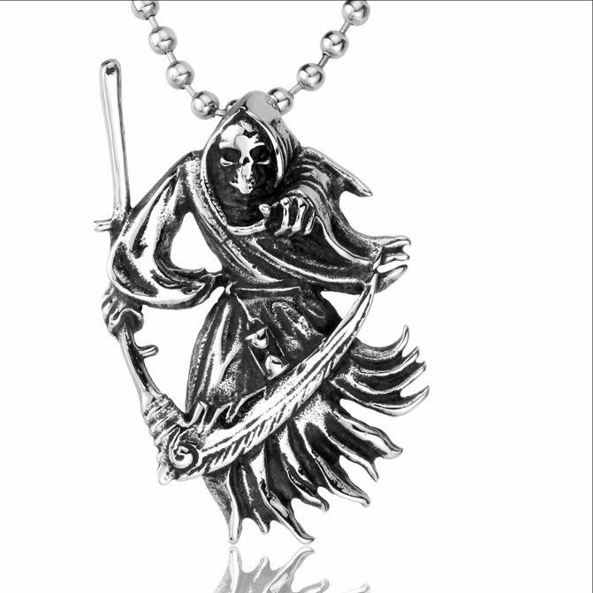 Angel of Death Skull Pendant Necklace