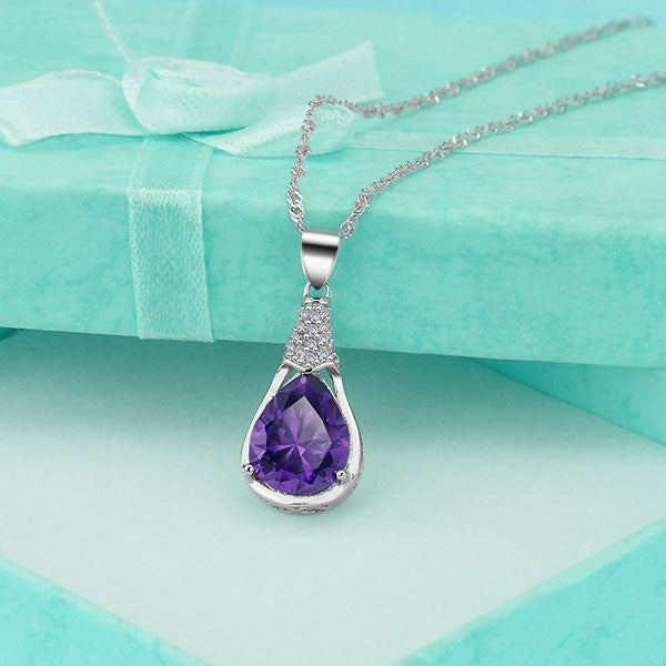 Amethyst Water Drop Necklace